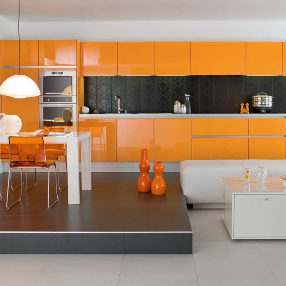 Simple Design Modern High Glossy Lacquer Finish Orange Kitchen Cabinets Buy Orange Kitchen Cabinets High Glossy Kitchen Cabinets Kitchen Cabinet Simple Designs Product On Alibaba Com
