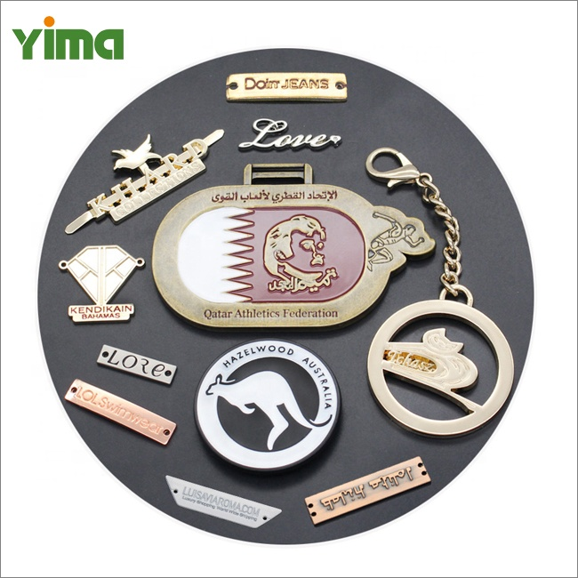 Fashion sliver rose gold high quality plate clothing metal label sew sticker prong metal label custom