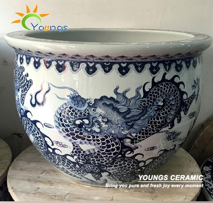 luxe grande taille dragon chinois en c ramique pot de fleur peinture dessins pots fleurs. Black Bedroom Furniture Sets. Home Design Ideas