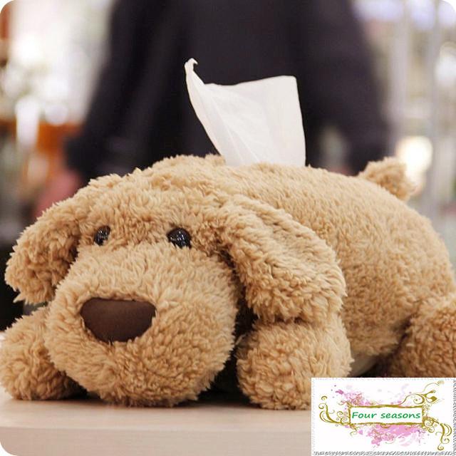 Teddy cartoon dog doll Large Tissue Cover Plush paper napkin Box Creative car pumping paper sets