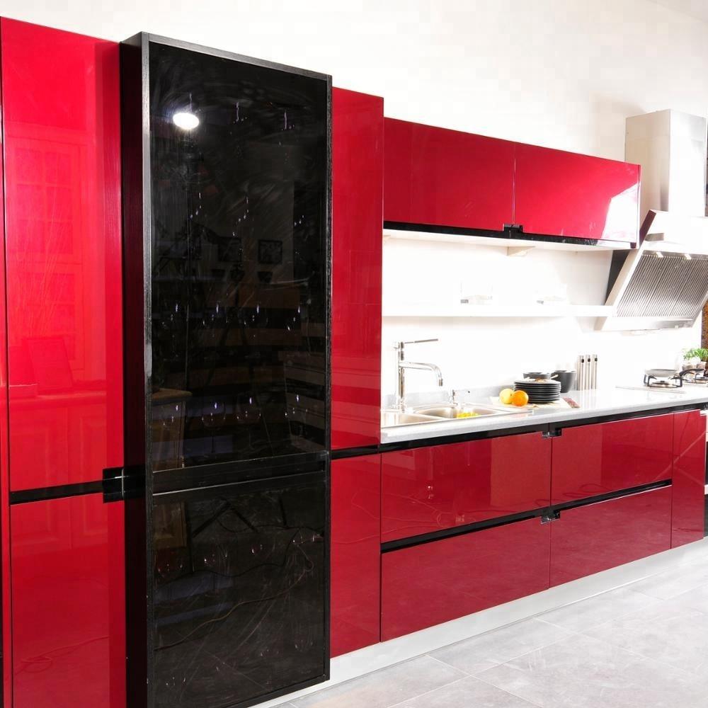 High Gloss Kitchen Cabinets,Fashion Red And Black Kitchen Design ...
