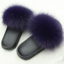 Тапочки из натурального меха лисы, Yu Kube, лето размера плюс, пушистые тапочки с открытым носком из натурального меха, плоские тапочки, повседн...(Китай)