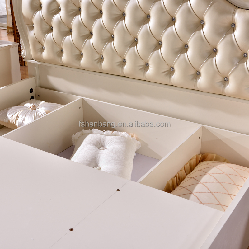 Luxury White French Barocco Style Hand Carved Wood Leather Adjustable Queen Double Hydraulic Gas Lift up Storage Box Bed