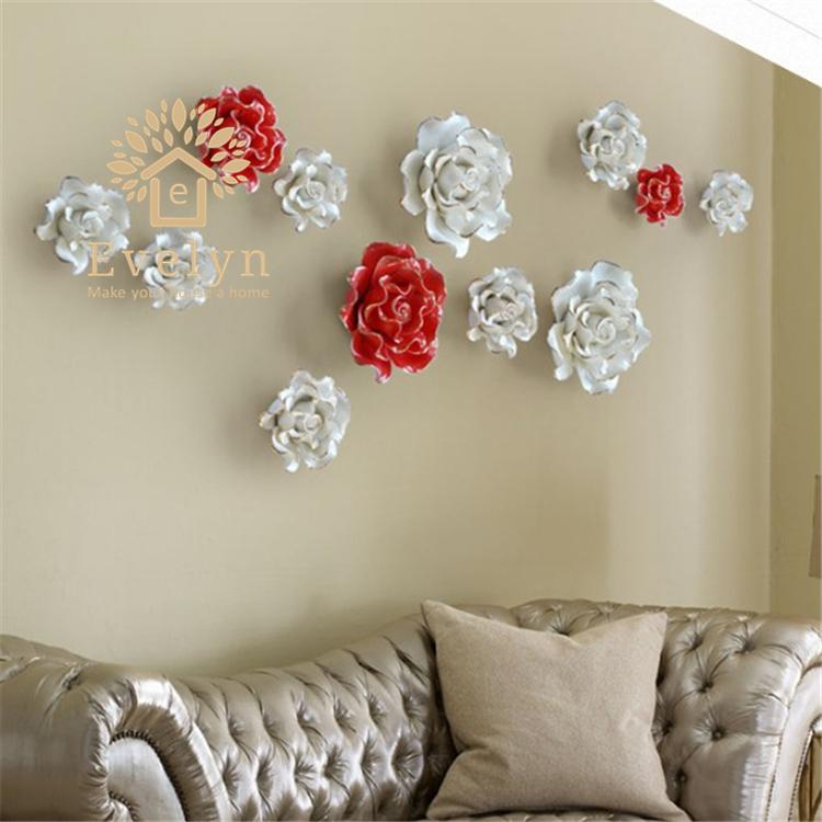 Оптом классические 3D керамические цветочные настенные украшения для гостиной