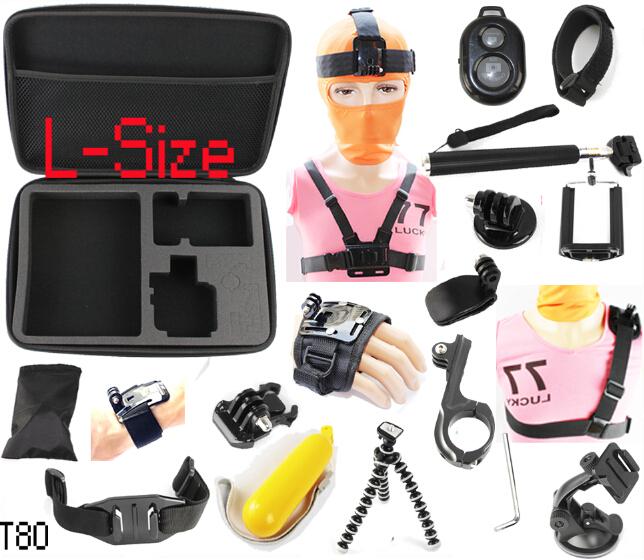 Sj4000 Gopro Accessories Kit Set Monopod Bobber Tripod Helmet Chest Head Strap