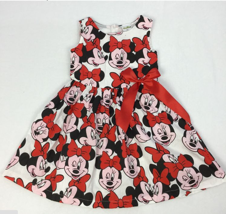 summer style New Girl Cute mini sleeveless Dresses Kids Clothes Dress Cotton Children Lovely Red Cartoon