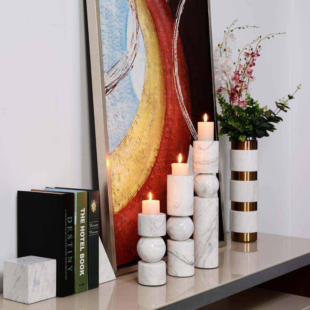 Европейский стиль, подсвечник из белого камня, цилиндрический мраморный подсвечник для украшения дома, ресторана, стола