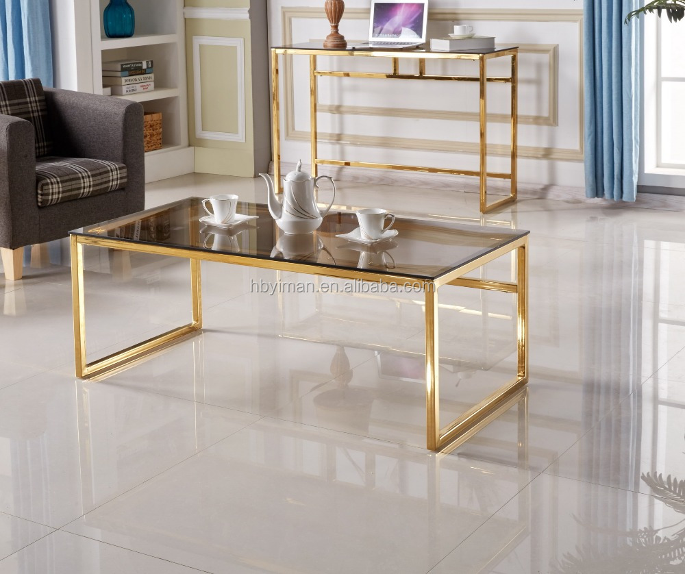 brown tinted tempered glass coffee table golden metal legs