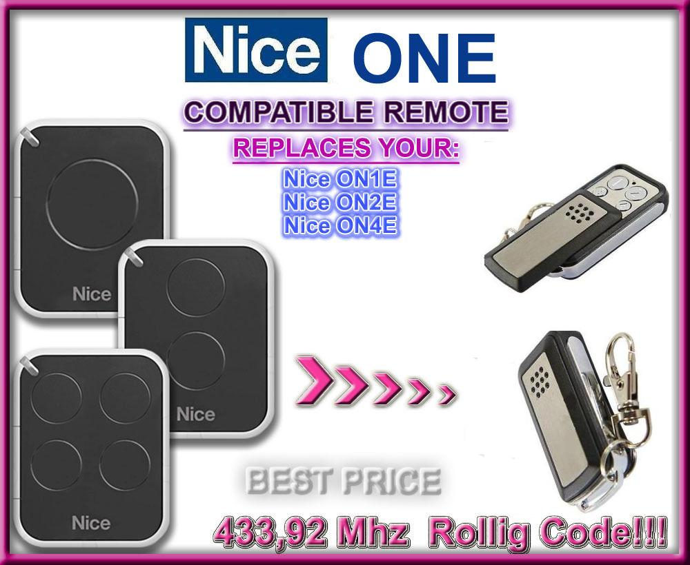 nice on1e on2e on4e rolling code compatible remote control replacement transmitter. Black Bedroom Furniture Sets. Home Design Ideas
