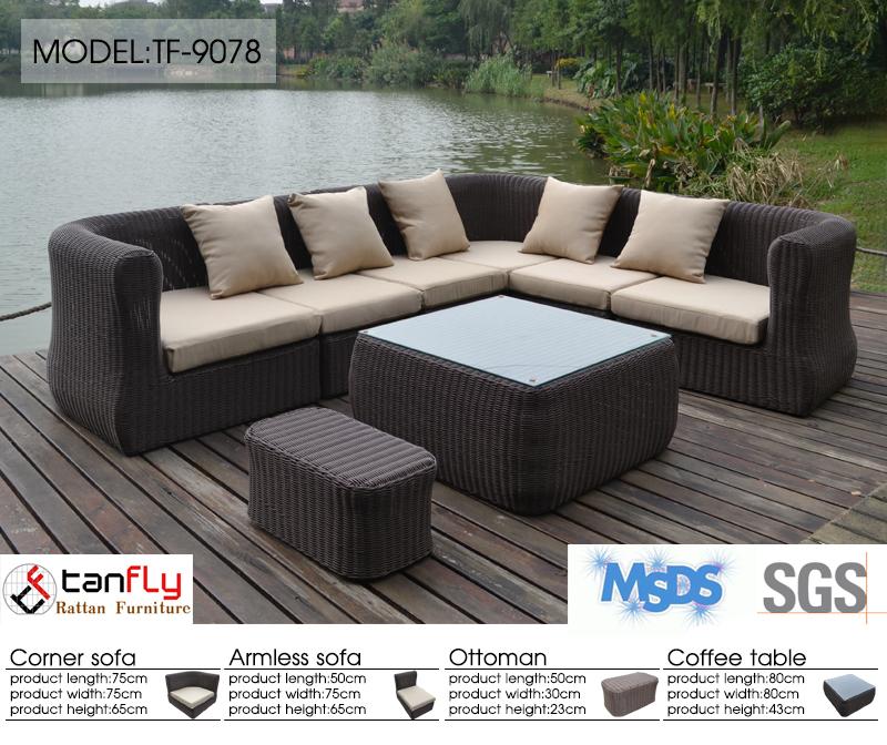 Новый круглый диван из ротанга, уличная мебель, высококачественный угловой диван с Бали, набор плетеных диванов