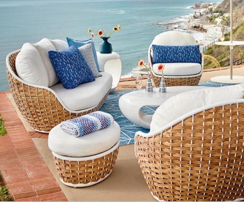 Садовый Плетеный кофейный столик, клубный стул, табурет