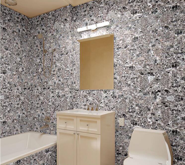 Waterproof Bathroom Walllpaper: Stone Wallpaper 3D Modern PVC Imitation Marble Waterproof