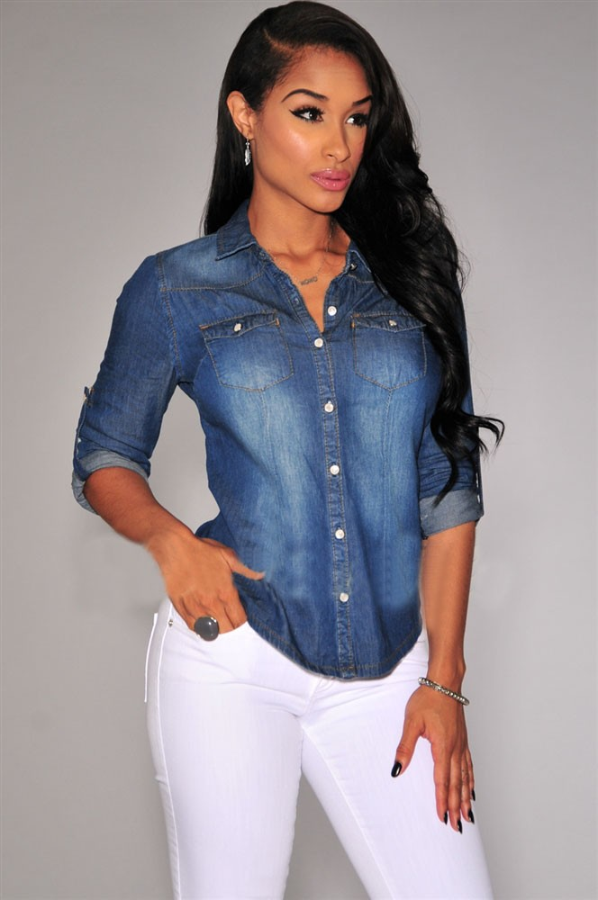 badba1e5e Moda mujer manga larga Denim Blusa Office lady camisa solapa Slim Tops 2  Color