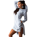2016 Autumn Women Hoodies Sweatshirts Anomalisticy Hooded Full Sleeve Hoodies Dress Cotton Casual Pockets Long