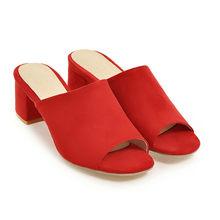 Meotina/женские шлепанцы; Летние босоножки; Обувь для вечеринок на Высоком толстом каблуке; Модные женские шлепанцы с открытым носком; Красные ...(Китай)