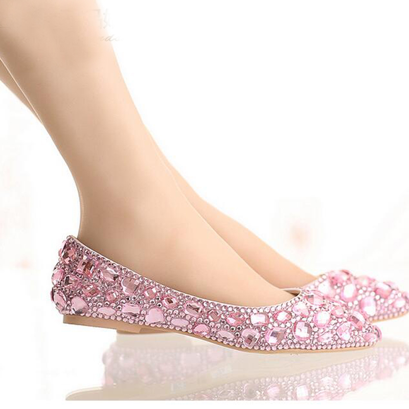 Flat Pink Bridal Shoes
