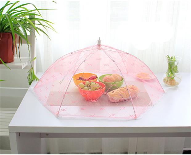Питание обложки зонтик стиль муха москитная кухня диаметр 65 см с-33 инструменты для приготовления пищи еда крышка шестигранной марли покрытие стола еда