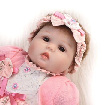 "Soft Silicone Vinyl Doll 17"" Reborn Doll with Cotton Body Lovely Round-face Newborn Girl Doll Kids Playmates and Birthday Gifts"