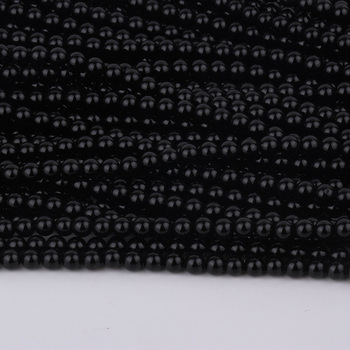 Drilled Hole Round Black Agate Beads Gemstone Loose Beads