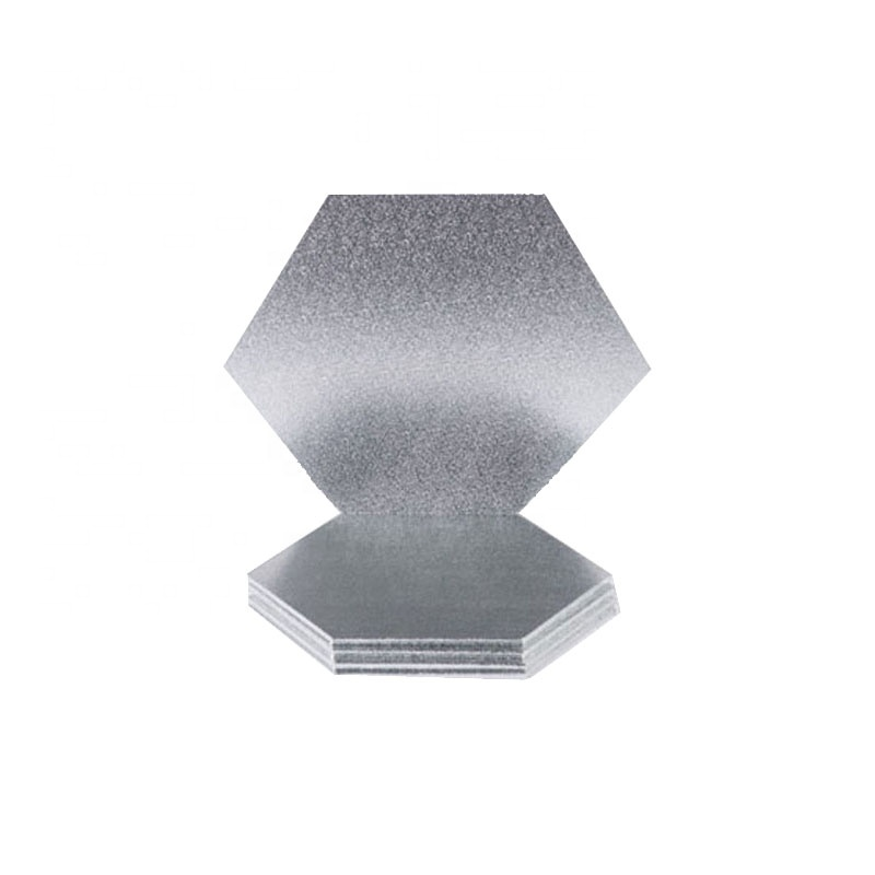 Silver hexagon shape wood cake drum for wedding