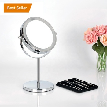 Amazon Top Seller 2018 Stock 6.5 Inch Chrome Silver Round Desktop Lighted Vanity Illuminated LED Makeup Mirror Battery
