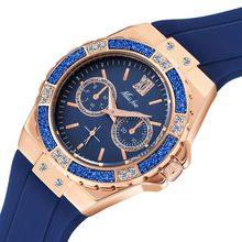 MISSFOX женские кварцевые часы, модные роскошные Брендовые женские часы из розового золота с блестящим бриллиантом, черный резиновый ремешок, ...(Китай)
