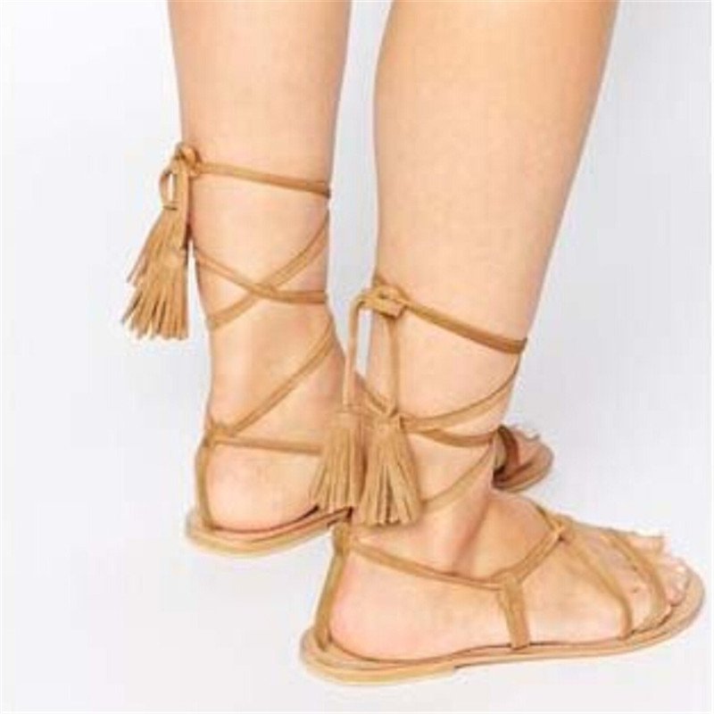 Fashion Brown Black Suede Ankle Tie Flat Sandals Lace Up