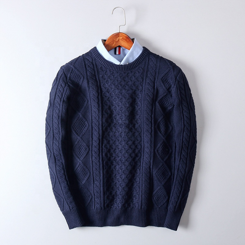 OEN/ODM 2021Hot Selling  autumn and winter new round neck men's sweater jacquard solid color base pullover wool  knitted sweater