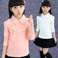 Brand Design Children Clothing Spring Fall 2016 Girls Longs Sleeve Blouse Turndown Collar Kids Lace Shirts