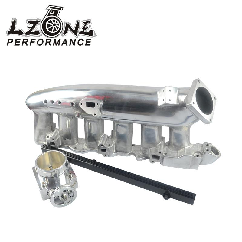 Lzone RACING-NEW для R32 R33 R34 RB25DET полированный впускной коллектор + 80 мм дроссельной заслонки + RB25DET топливо JR-IM32PH + 6980 S + 5439BK