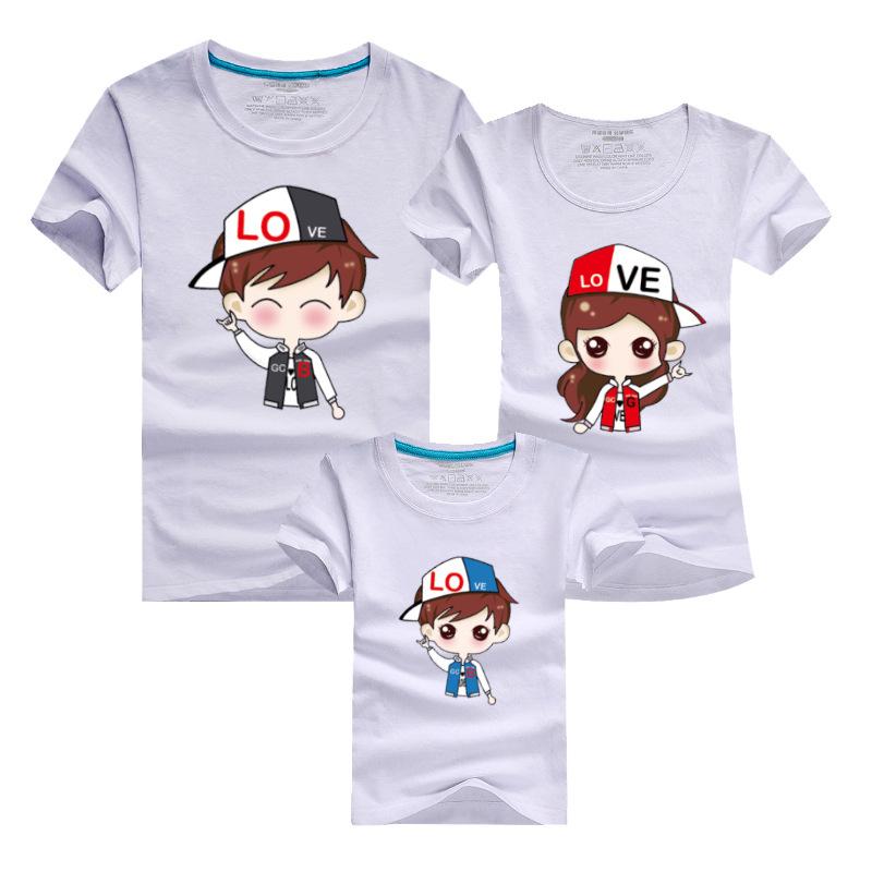 PSEEWE Family Cartoon Couple T Shirt Matching Mother Son Clothes Women Men Kid Summer Shirt Cute