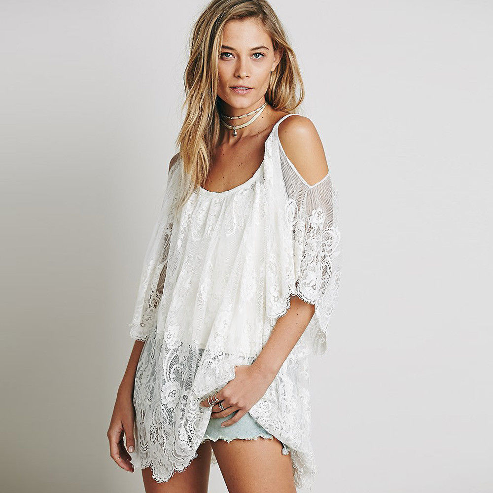aac425576b Women Beach Dress Sexy Strap Sheer Floral Lace Embroidered Crochet Summer  Dresses Hippie Boho Dress Vestidos Beach Wear