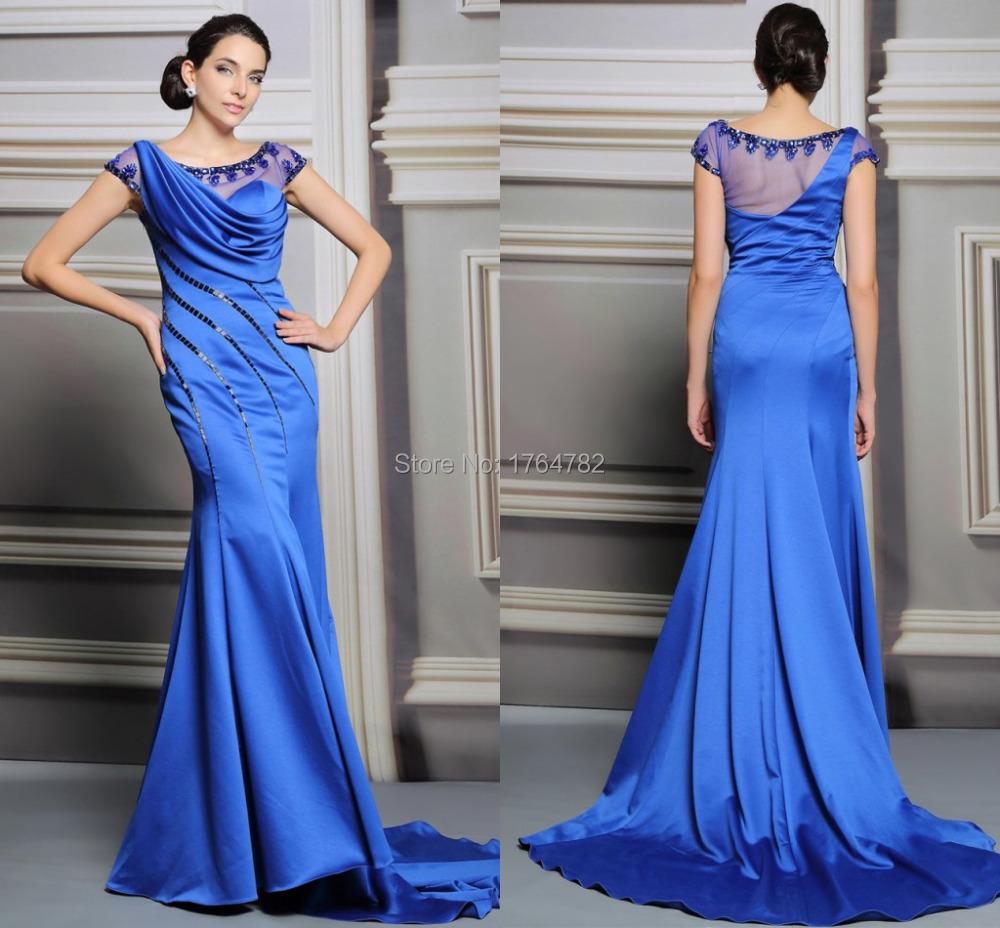 Amazing Royal Blue Beaded Sheer Mermaid Evening Dresses ... - photo#5