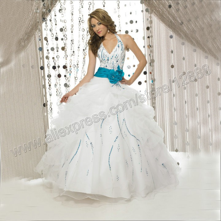 Blue And White Ball Gowns The Halter Backless Ball Gown