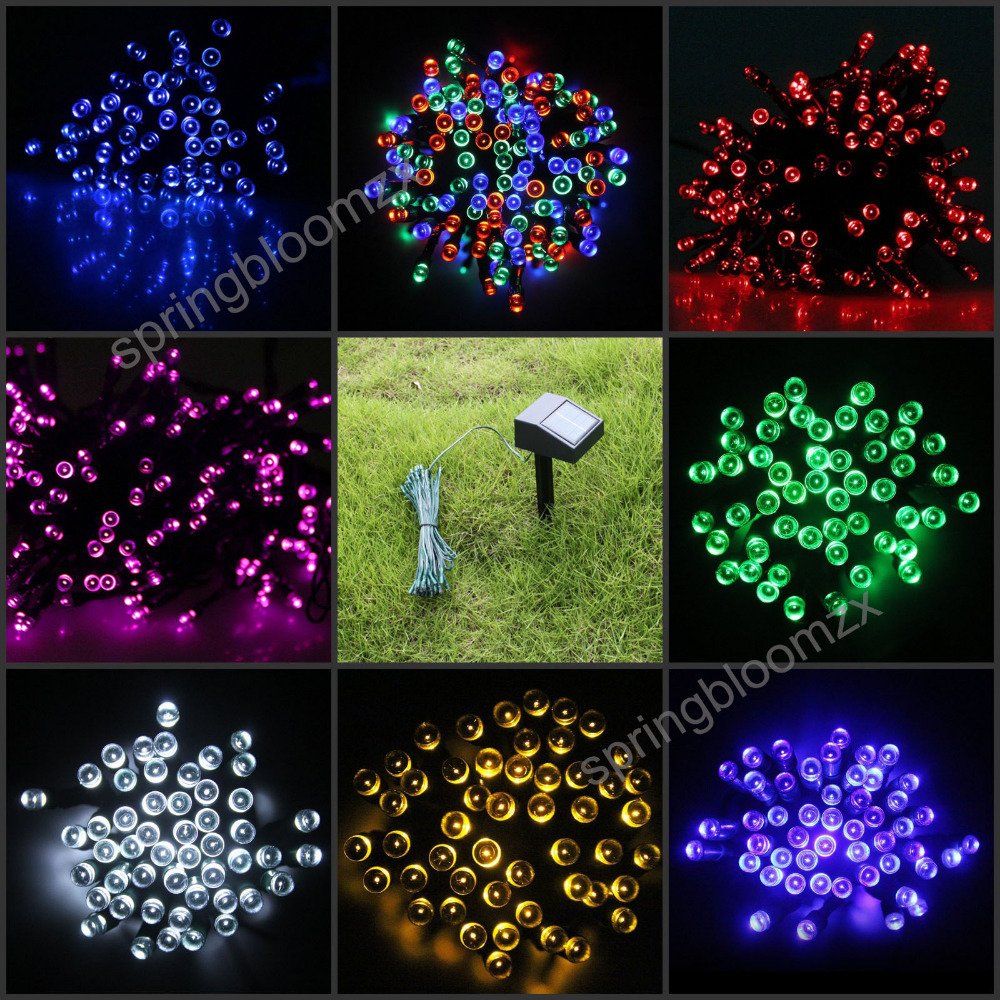 outdoor solar panel powered 9 colors 12m light 100 led string fairy automatic garden waterproof. Black Bedroom Furniture Sets. Home Design Ideas