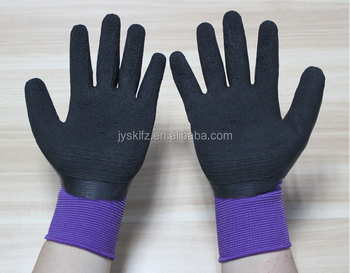 13 guage knitted work glove coated purple foam latex palm glove
