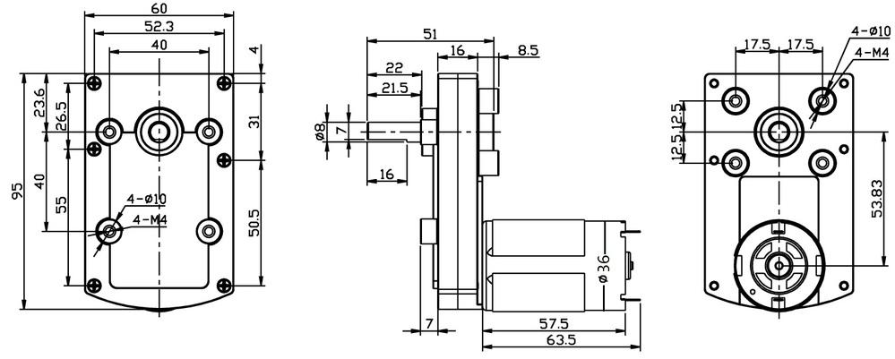 Flat Gear Reductor 8mm Output Shaft Micro Blender High