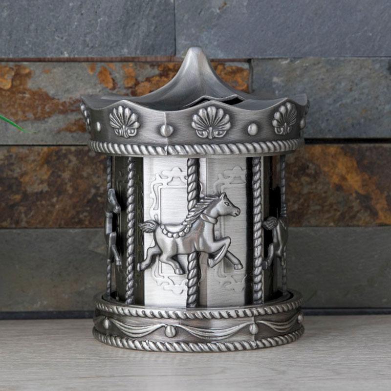 zinc alloy carrousel money box wholesale for home decoration use