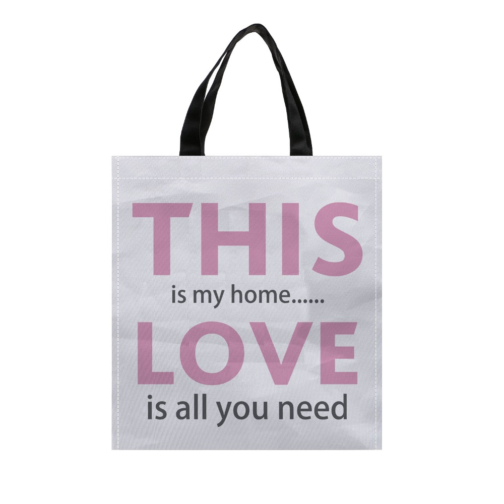 4pcs love letter custom eco reusable shopping bags for Supermarket bag packing letter template