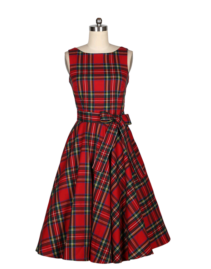 f00706960fc Detail Feedback Questions about Red Plaid Retro Vintage Dress Elegant  Vintage Rockabilly 50s Dress Women hepburn Summer O neck Sleeveless Slim  Midi Vestido ...
