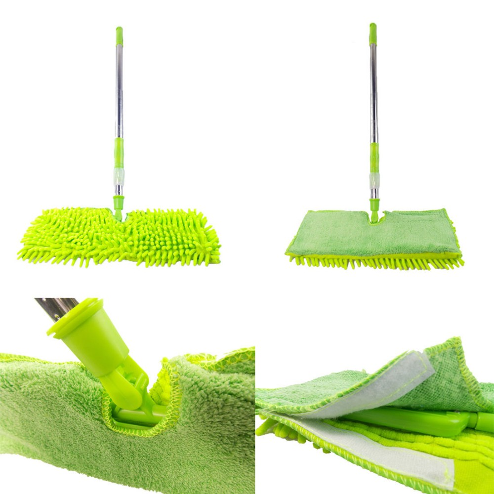 Double Sided Microfiber Dust Mop Flat Mop With Telescopic