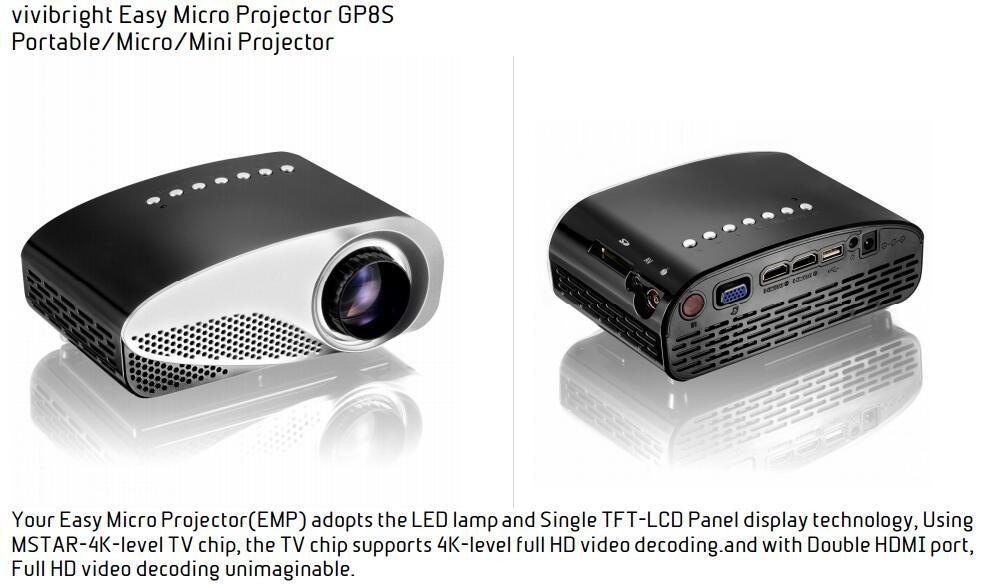 Wholesale-4K Full HD Easy Micro Projector EMP GP8S Mini Portable LCD Home  Theater Beamer Double HDMI SD USB TV AV VGA Portable Proyector