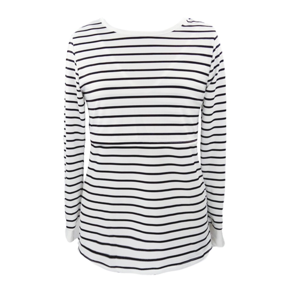 2019 New Women Ropa De Mujer Shirt Maternity Mom Pregnant Clothes Nursing Baby Maternity Long Sleeved Striped Tees Clothes Jurk Blouses &shirts