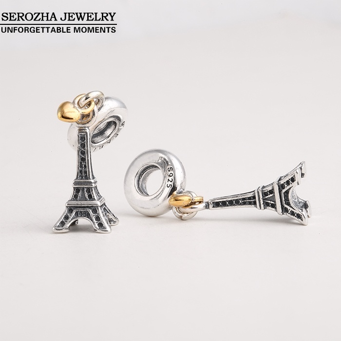 a36a0e113 ... Authentic 925 Sterling Silver Eiffel Tower Charms Fit Bracelets Dangle 14K  Gold Plated Heart Charm Pendant ...