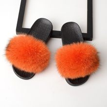 SARSALLYA меховые тапочки Для женщин натуральным лисьим мехом шлепанцы домашние меховые плоские сандалии женский милый пушистый домашняя обув...(Китай)