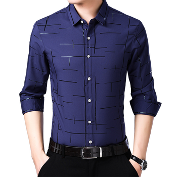 Wholesale long sleeve formal style custom fit easy-care man's long shirt