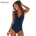 2016 Sexy One Piece Swimsuit Women Push Up Swimwear Vintage Monokini Ruffle High Cut Plus Size