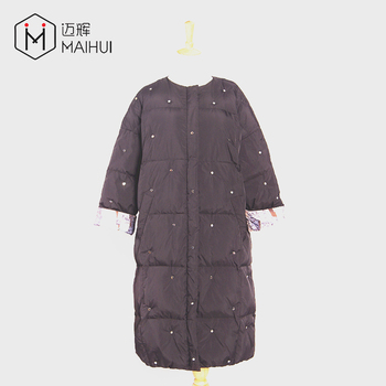 shawl collar print lined metal rivet waterproof ladies winter coats