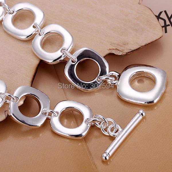 H106 красивая элегантный 925 чистое серебро подвески квадрат браслет великолепная ювелирные изделия