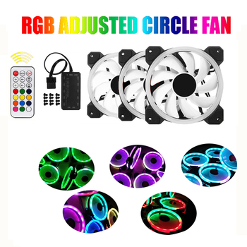 RGB Adjusted circle LED120mm Computer Case PC Cooling Fan quiet + Remote fan computer Cooler Cooling 12cmRGB game pc Case fan